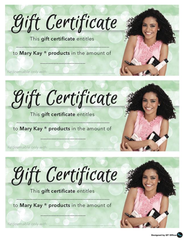 Mary Kay Gift Certificate Template Mandegarfo