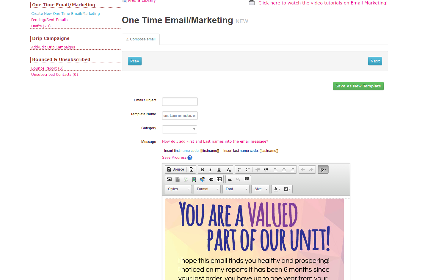 One time Email Template